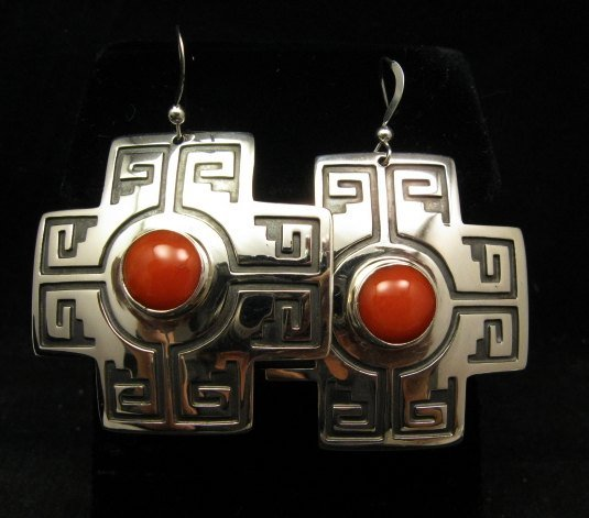 Image 3 of Navajo Coral Silver Sante Fe Cross Earrings, Everett & Mary Teller