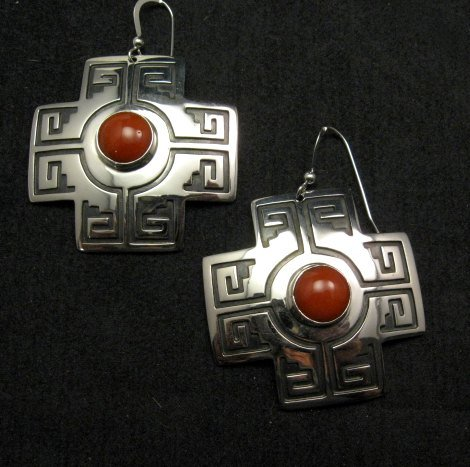 Image 4 of Navajo Coral Silver Sante Fe Cross Earrings, Everett & Mary Teller