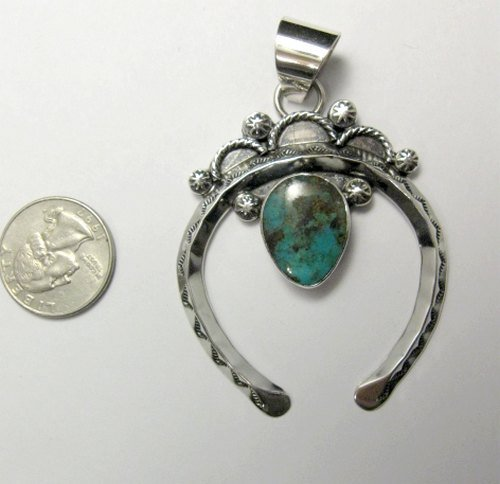 Image 3 of Navajo Naja Pendant Turquoise Silver by Everett & Mary Teller