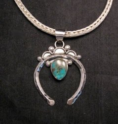 Navajo Naja Pendant Turquoise Silver by Everett & Mary Teller
