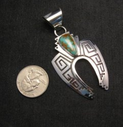 Navajo Indian Sterling Silver Turquoise Naja Earrings, Everett & Mary Teller
