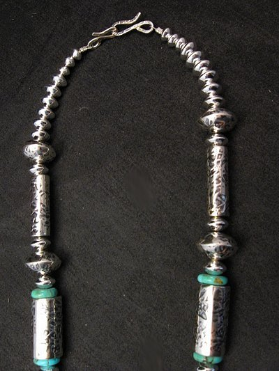 Image 4 of Navajo Hammered Silver Barrel Beads Turquoise Necklace Everett & Mary Teller