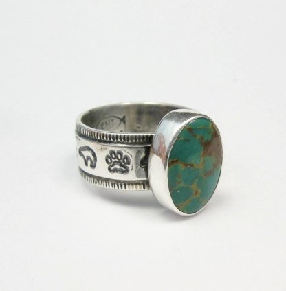 Image 1 of Navajo Native American Turquoise Mens Ring, Travis EMT Teller, sz14