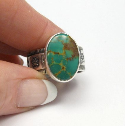 Image 5 of Navajo Native American Turquoise Mens Ring, Travis EMT Teller, sz14