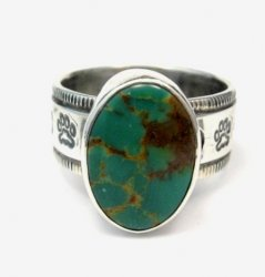 Navajo Native American Turquoise Mens Ring, Travis EMT Teller, sz14