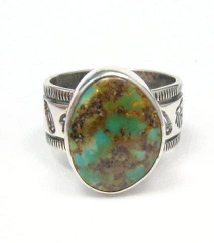 Image 0 of Navajo Royston Turquoise Mens Ring, Travis EMT Teller, sz12
