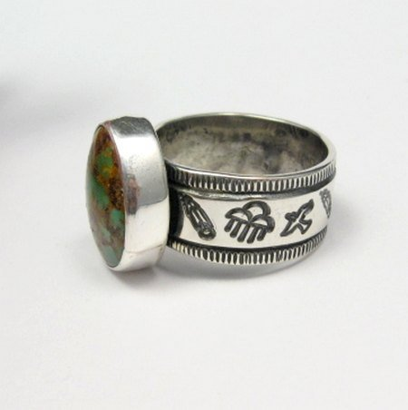 Image 2 of Navajo Royston Turquoise Silver Ring, Travis Teller, sz12