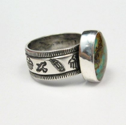 Image 3 of Navajo Royston Turquoise Silver Ring, Travis Teller, sz12