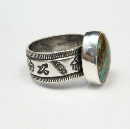 Image 3 of Navajo Royston Turquoise Mens Ring, Travis EMT Teller, sz12