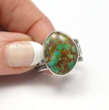Image 4 of Navajo Royston Turquoise Silver Ring, Travis Teller, sz12