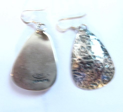 Image 5 of Navajo Native American Hammered Silver Earrings, Everett & Mary Teller
