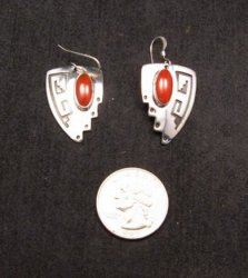 Navajo Native American ~ Everett & Mary Teller ~ Coral Silver Earrings