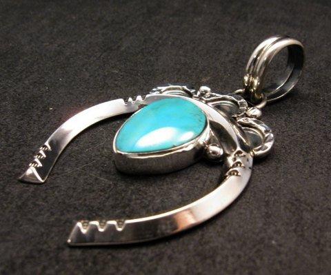Image 1 of Native American Naja Pendant Turquoise Silver Navajo, Everett & Mary Teller