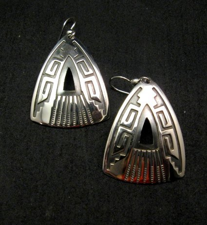 Image 0 of Native American Navajo Silver Overlay Earrings, Everett & Mary Teller
