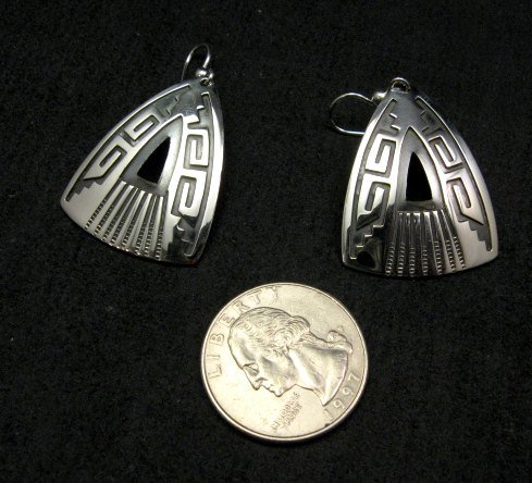 Image 1 of Native American Navajo Silver Overlay Earrings, Everett & Mary Teller