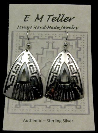 Image 2 of Native American Navajo Silver Overlay Earrings, Everett & Mary Teller