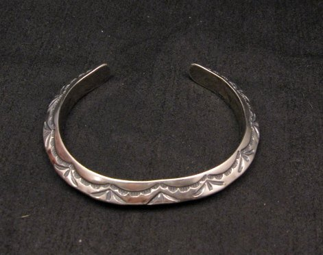 Image 0 of Navajo Native American Sterling Silver Stacker Cuff Bracelet, Travis Teller