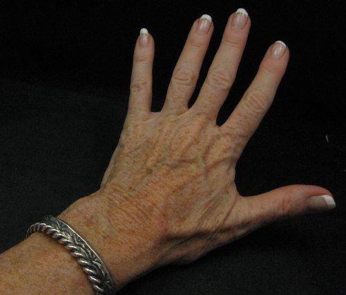 Image 3 of Navajo Native American Sterling Silver Stacker Cuff Bracelet, Travis Teller