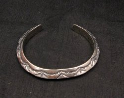 Navajo Native American Sterling Silver Stacker Cuff Bracelet, Travis Teller