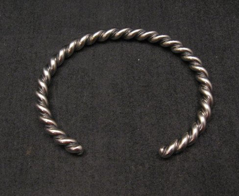 Image 0 of Navajo Native American Twisted Sterling Silver Bracelet, Travis EMT Teller