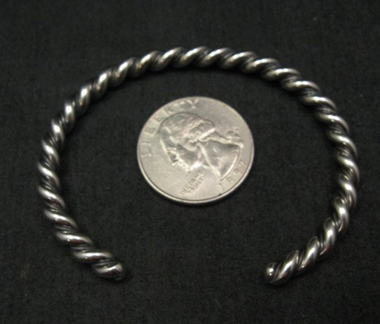 Image 1 of Navajo Native American Twisted Sterling Silver Bracelet, Travis EMT Teller