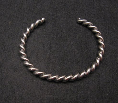 Image 2 of Navajo Native American Twisted Sterling Silver Bracelet, Travis EMT Teller