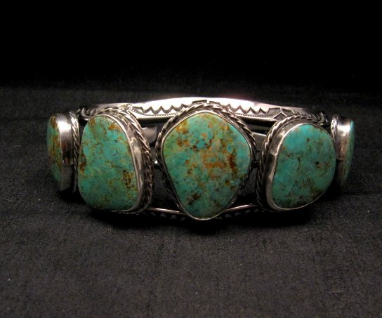 Image 0 of Extra Large Navajo Manasa Turquoise Silver Cuff Bracelet, Travis Teller