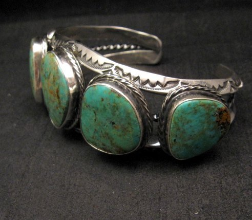 Image 2 of Extra Large Navajo Manasa Turquoise Silver Cuff Bracelet, Travis Teller