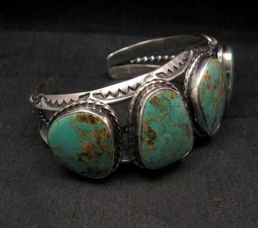 Image 3 of Extra Large Navajo Manasa Turquoise Silver Cuff Bracelet, Travis Teller