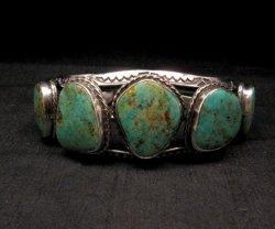 Extra Large Navajo Manasa Turquoise Silver Cuff Bracelet, Travis Teller