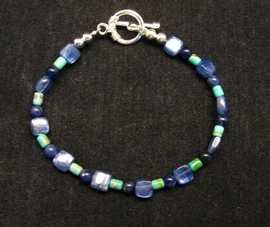 Image 0 of Dainty Navajo Indian Lapis Turquoise Bead Bracelet, Everett & Mary Teller