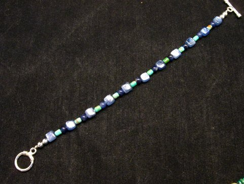 Image 1 of Dainty Navajo Indian Lapis Turquoise Bead Bracelet, Everett & Mary Teller