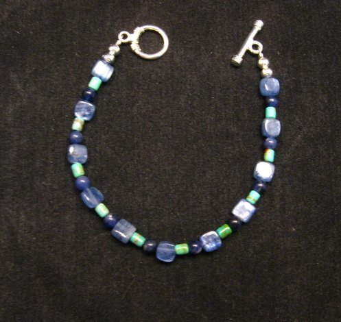 Image 2 of Dainty Navajo Indian Lapis Turquoise Bead Bracelet, Everett & Mary Teller