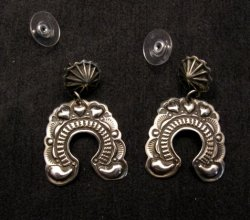 Native American Darryl Becenti Navajo Naja Sterling Silver Earrings