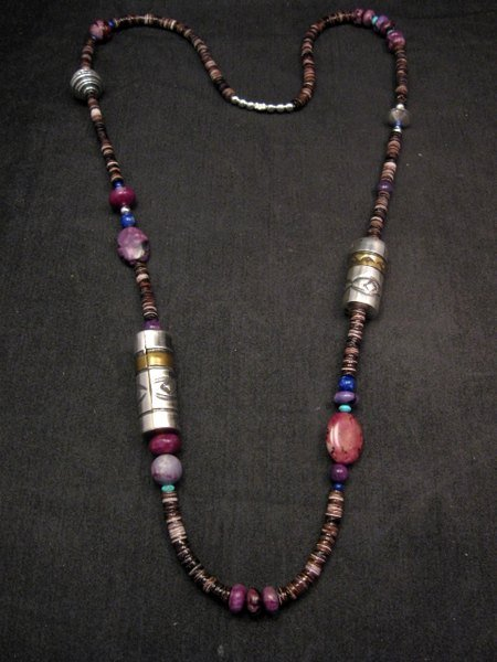 Image 0 of Long Everett & Mary Teller Navajo Sugilite Multigem Bead Silver Barrel Necklace