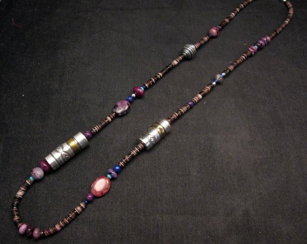 Image 1 of Long Everett & Mary Teller Navajo Sugilite Multigem Bead Silver Barrel Necklace