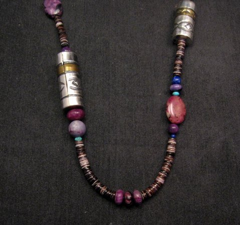 Image 2 of Long Everett & Mary Teller Navajo Sugilite Multigem Bead Silver Barrel Necklace