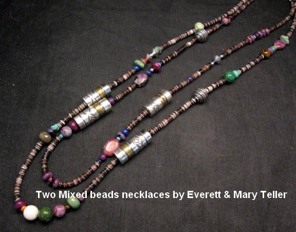 Image 5 of Long Everett & Mary Teller Navajo Sugilite Multigem Bead Silver Barrel Necklace