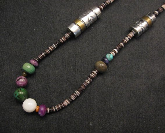 Image 4 of Long Everett & Mary Teller Navajo Mixed Shell Bead Heishi Silver Barrel Necklace