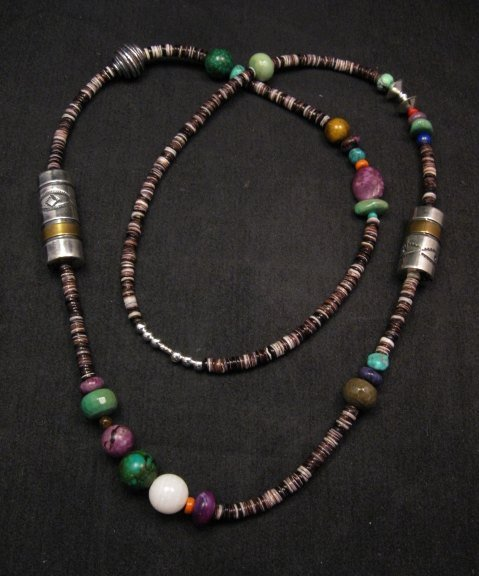 Image 0 of Long Everett & Mary Teller Navajo Mixed Shell Bead Heishi Silver Barrel Necklace
