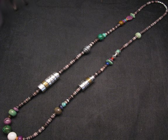 Image 1 of Long Everett & Mary Teller Navajo Mixed Shell Bead Heishi Silver Barrel Necklace