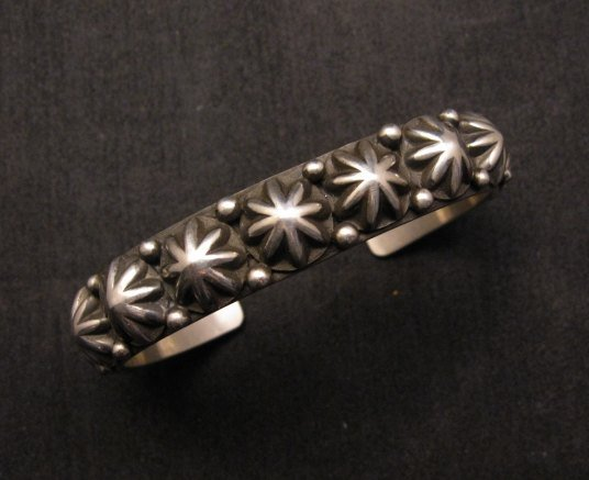 Image 0 of Old Pawn Style Starred Button Studded Silver Bracelet Navajo Happy Piasso, Large