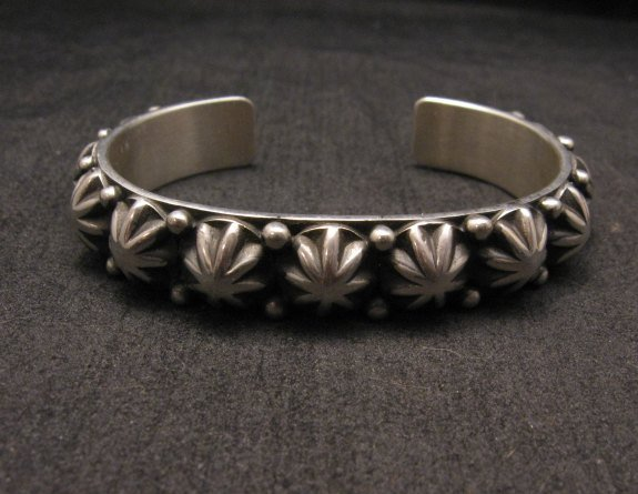 Image 1 of Old Pawn Style Starred Button Studded Silver Bracelet Navajo Happy Piasso, Large