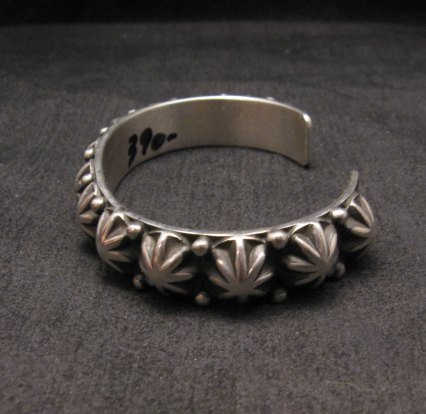 Image 4 of Old Pawn Style Starred Button Studded Silver Bracelet Navajo Happy Piasso, Large