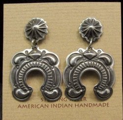 Native American Darryl Becenti Navajo Repousse Naja Sterling Silver Earrings