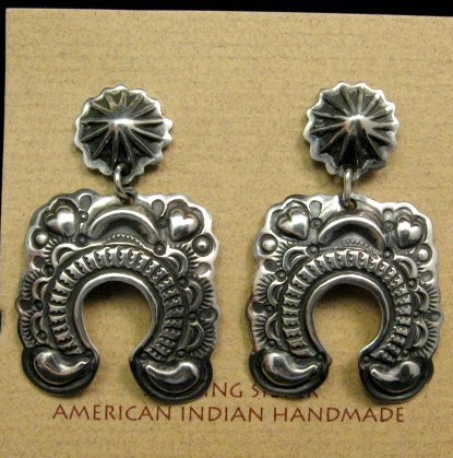 Image 0 of Navajo Revival Style Naja Sterling Silver Earrings, Darryl Becenti