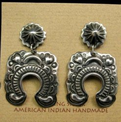 Navajo Revival Style Naja Sterling Silver Earrings, Darryl Becenti