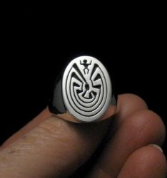 Native American Sterling Silver Man in the Maze Ring sz9-1/2, Calvin Peterson