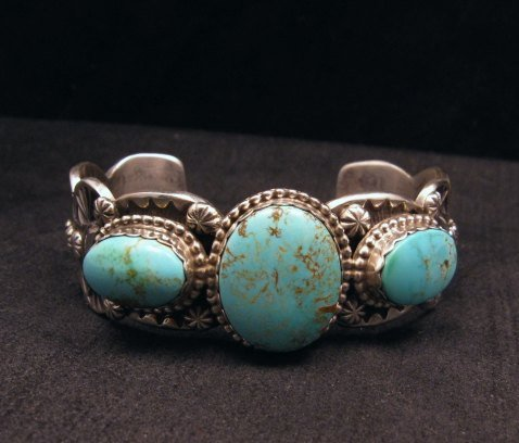 Image 0 of Gilbert Tom ~ Navajo ~ Old Pawn Style Royston Turquoise Silver Bracelet