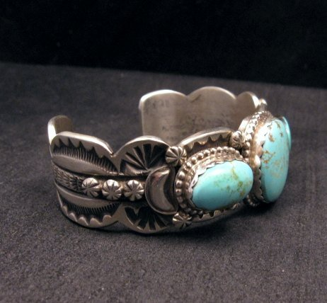 Image 1 of Gilbert Tom ~ Navajo ~ Old Pawn Style Royston Turquoise Silver Bracelet